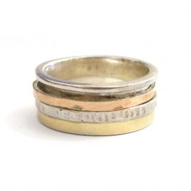 YMR-8 Silver and Gold Ring with 1 Spinning Ring (N 1/2)