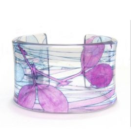 SBG-17 Pink and Blue Sweet Pea and Grass Cuff