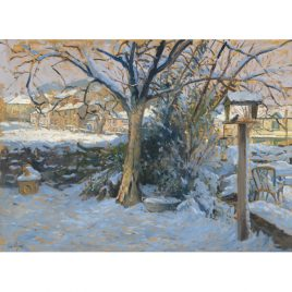 C1685 Snowscene with Birdtable, Exford – Ian Cryer