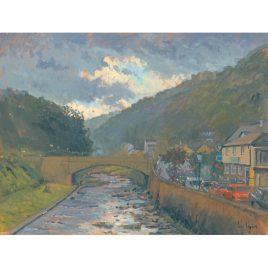 C1713 Looking up River, Evening, Lynmouth – Ian Cryer