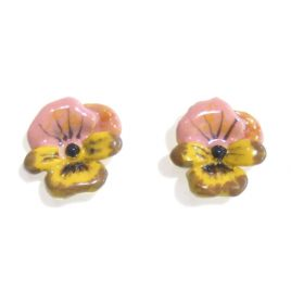 LNE-60 Pink and Yellow Pansy Studs
