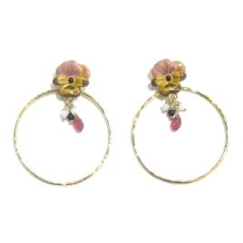 LNE-64 Pink and Yellow Pansy Hoop Studs MH