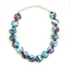 SGN-5 Turquoise and Pink Passionflower Disc Necklace