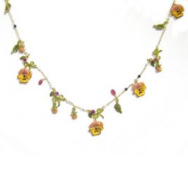 LNN-52 Pink and Yellow Pansy Necklace