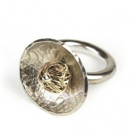 CJ-333 Silver Ring with 9ct Gold Ball