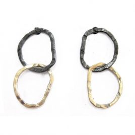 BJE-5 Oxidised Silver & 9ct Gold Link Studs