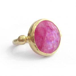 YMR-12 Pink Rainbow Moonstone Ring (N 1/2)