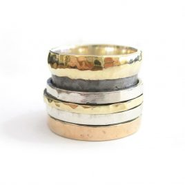 YMR-24 Silver, Gold and Rose Gold Ring with 3 Spinning Rings (S)
