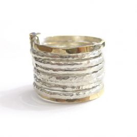 YMR-28 Silver and Gold Stacked Ring (N1/2)