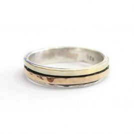 YMR-27 Silver and Gold Ring with 1 Rose Gold Spinnign Ring (P 1/2)