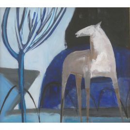C3520 Horse with Blue Tree