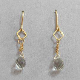 BJE-10 Yellow Gold Vermeil & Green Amethyst Earrings