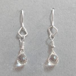 BJE-9 Satin Silver & Rock Crystal Fine Hook Earrings