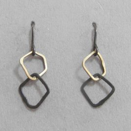BJE-15 Oxidised Silver & 9ct Gold Link Earrings