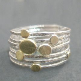 ELR-60 Set of 7 Stacking Rings with Gold and Silver Discs (Size N)