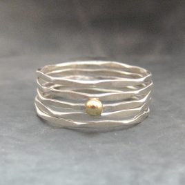 ELR-64 Hammered Stacking Rings with Gold Dot