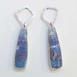 DBE-31 Small Drop Earrings with Hammered Silver Ring – Dee Barnes