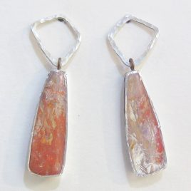 DBE-32 Small Drop Earrings with Hammered Silver Ring – Dee Barnes