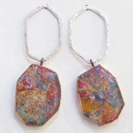 DBE-37 Large Drop Earrings with Hammered Silver Ring – Dee Barnes