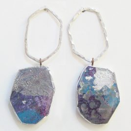 DBE-38 Large Drop Earrings with Hammered Silver Ring – Dee Barnes