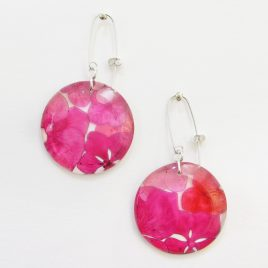 SGE-30 Pink and Red Hydrangea Disc Earrings