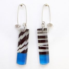 SGE-34 Black and Blue Humbug Rectangular Earrings – Sue Gregor