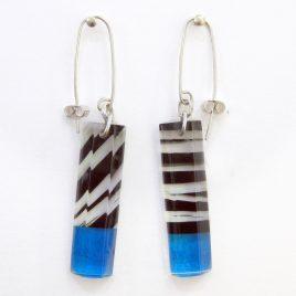 SGE-34 Black and Blue Humbug Rectangular Earrings