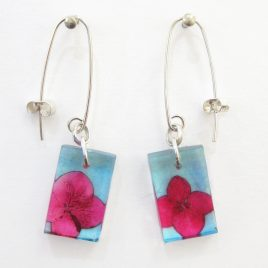 SGE-39 Pink and Blue Hydrangea Small Rectangular Earrings