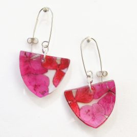 SGE-42 Pink and Red Hydrangea Triangular Earrings