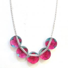 SGN-18 Pink and Blue Hydrangea Button Necklace