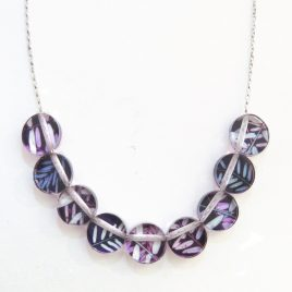 SGN-20 Pink and Purple Vetch Button Necklace