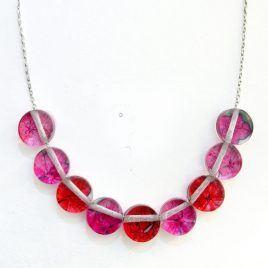 SGN-21 Pink and Red Hydrangea Button Necklace