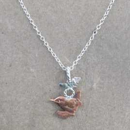 RE-25 Wren and Oak Leaf Necklace