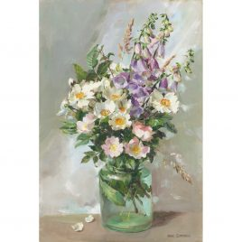 C5094 Dog Roses and Foxgloves in a Glass Jar