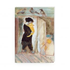 'Lady with Golden Cat and Three Doves' by Ann Farley Greetings Card