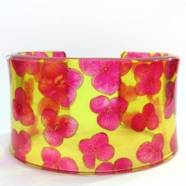 SGB-71 Pink and Yellow Tiny Hydrangea Cuff – Sue Gregor