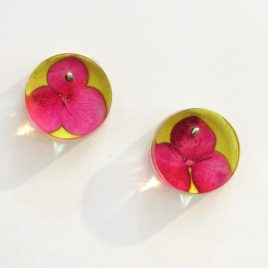 SGE-50 Pink and Yellow Tiny Hydrangea Stud Earrings – Sue Gregor