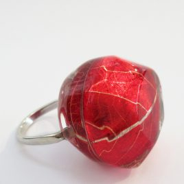 SGR-1 Red Skeleton Leaf Ring – Sue Gregor