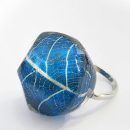 SGR-2 Blue Skeleton Leaf Ring – Sue Gregor