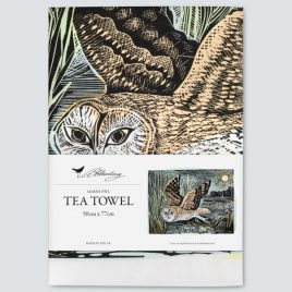 XM-159 Marsh Owl Tea Towel by Angela Harding
