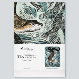 XM-158 Fishing Otter Tea Towel by Angela Harding