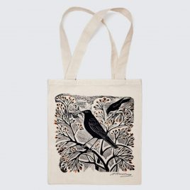 XM-164 Blackbird & Berry Tote Bag by Angela Harding