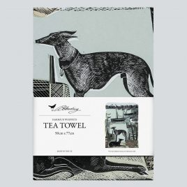 XM-163 Harbour Whippets Tea Towel by Angela Harding