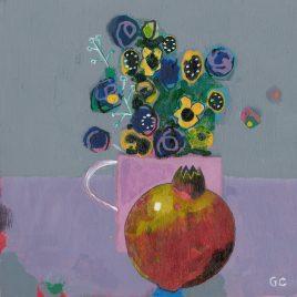 C6340 Pomegranate with Scruffy Flowers – Glenn Carney