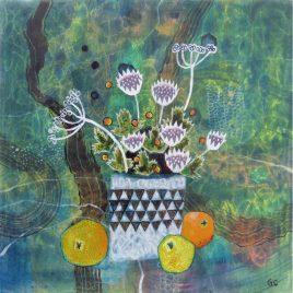 1434C Spiky Flowers and Oranges – Glenn Carney