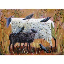 1411X Black Lamb and Starlings – Mary Sumner