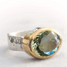 YMR-77 Green Amethyst Ring (Size P) – Yaron Morhaim