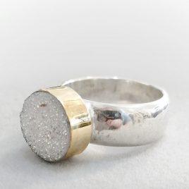 YMR-82 Druzy Agate Ring (Size P) – Yaron Morhaim