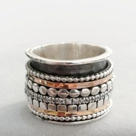 YMR-85 Silver, Gold, Rose Gold and Cubic Zirconia Spinning Ring (Size R) – Yaron Morhaim