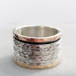 YMR-88 Silver, Gold and Rose Gold Spinning Ring (Size R) – Yaron Morhaim
